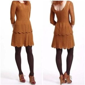 Knitted And Knotted Tiered Pointelle Sweater Dress